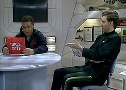 David Lister using Tension Sheets (bubble wrap, painted red) to de-stress on UK's 'Red Dwarf'.